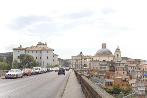 Villa near railway, Ariccia, view of town