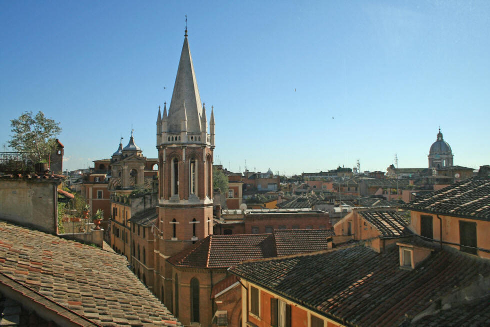 Panoramic apartment Rome, view from the living room